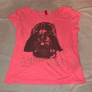 Small bright pink Darth Vader tshirt
